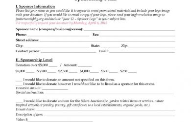 sample gift letter sponsor levels and agreement forms page x