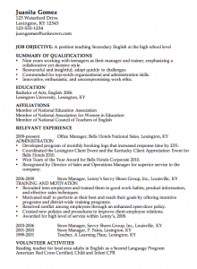 sample high school resume combination resume example english teacher csusanireland