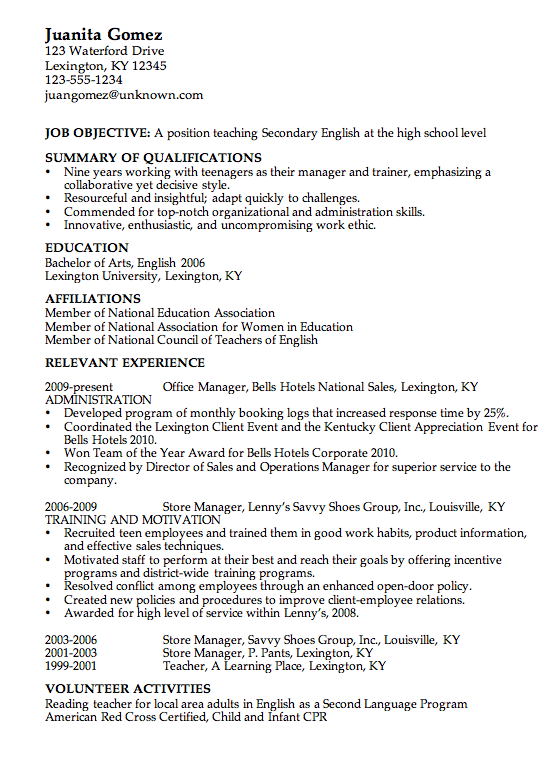 Sample High School Resume  Resume Template Education