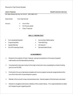 sample high school resume high school resume examples
