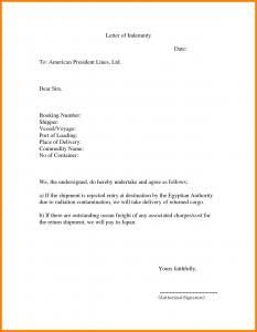 sample incident report indemnity letter template letter of indemnity vcolhed
