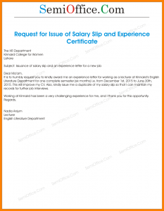 sample job description template request letter for getting salary slip