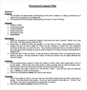 sample lesson plans sample preschool lesson plan template