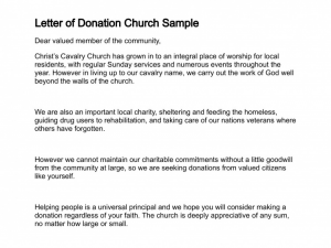 sample letter asking for donation letter of donation church sample