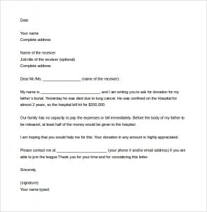 sample letter asking for donation sample solicitation letter for donations for death word download