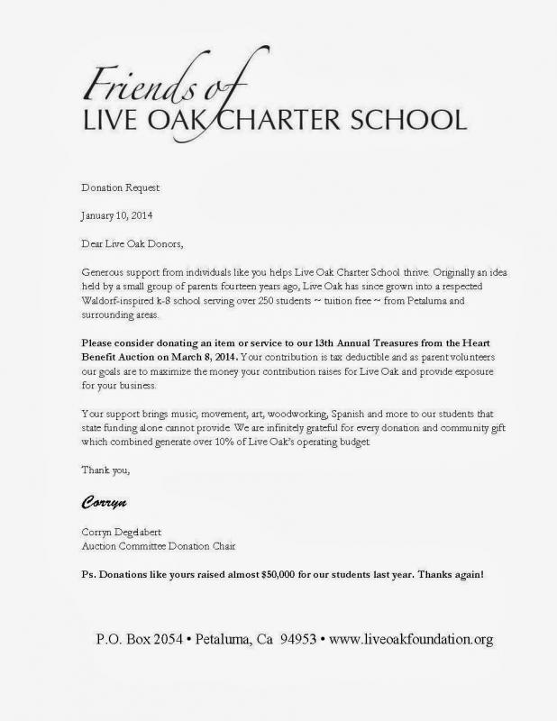 sample letter asking for donations for school