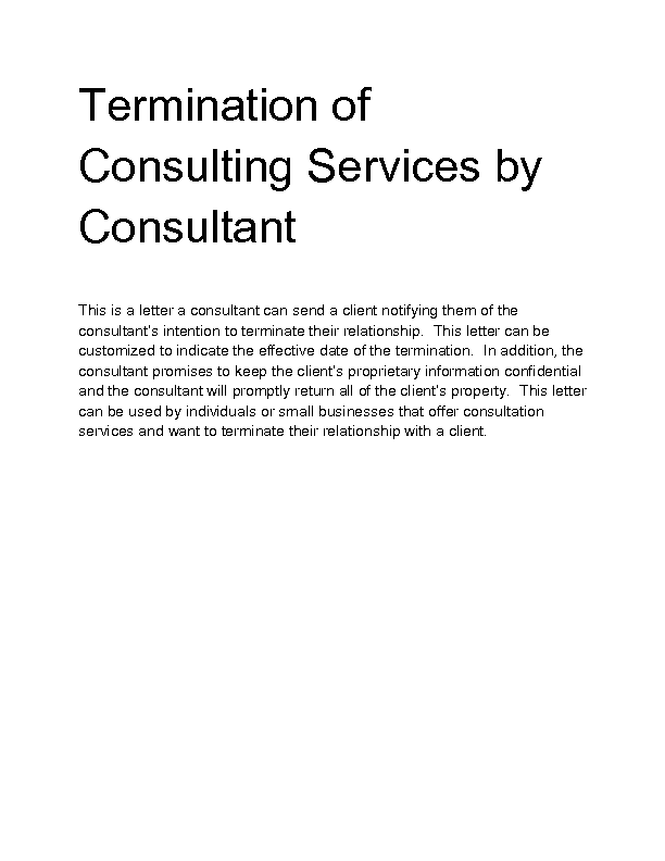 sample letter for termination of services