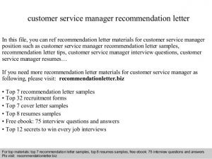 sample letter of employement customer service manager recommendation letter