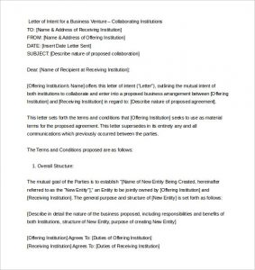 sample letter of intent business letter of intent sample format word doc