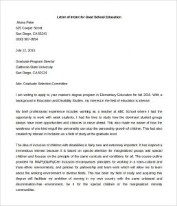 sample letter of intent for graduate school letter of intent grad school education template word format
