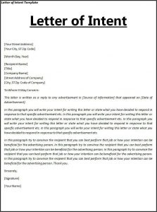 sample letter of intent for job letter of intent sample image