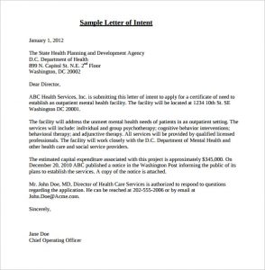 sample letter of intent sample letter of intent certificate of need application pdf format