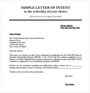 sample letter of intent to purchase school letter of intent