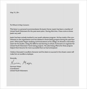 sample letter of recommendation for scholarships sample personal letter pdf