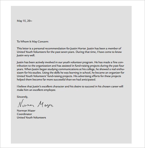 sample letter of recommendation for scholarships