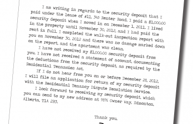 sample letter to tenant for damages johnlandlordletter
