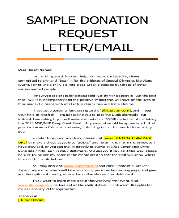 sample letters asking for donations