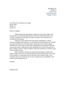 sample letters of recommendation for students culinary student cover letter