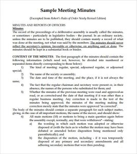 sample meeting minutes sample meeting minutes template