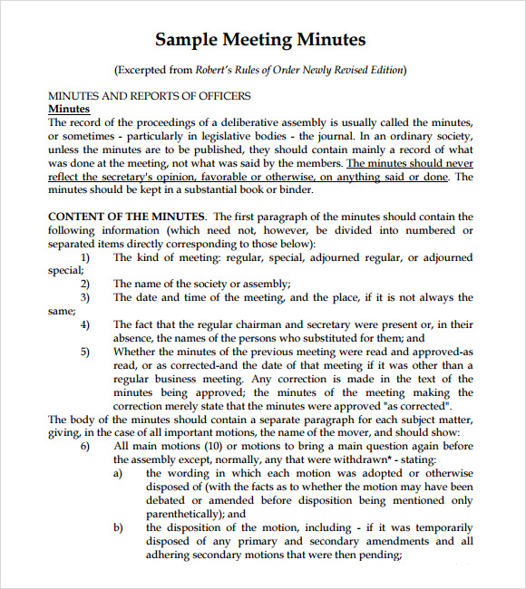 Sample Meeting Minutes  Template Business