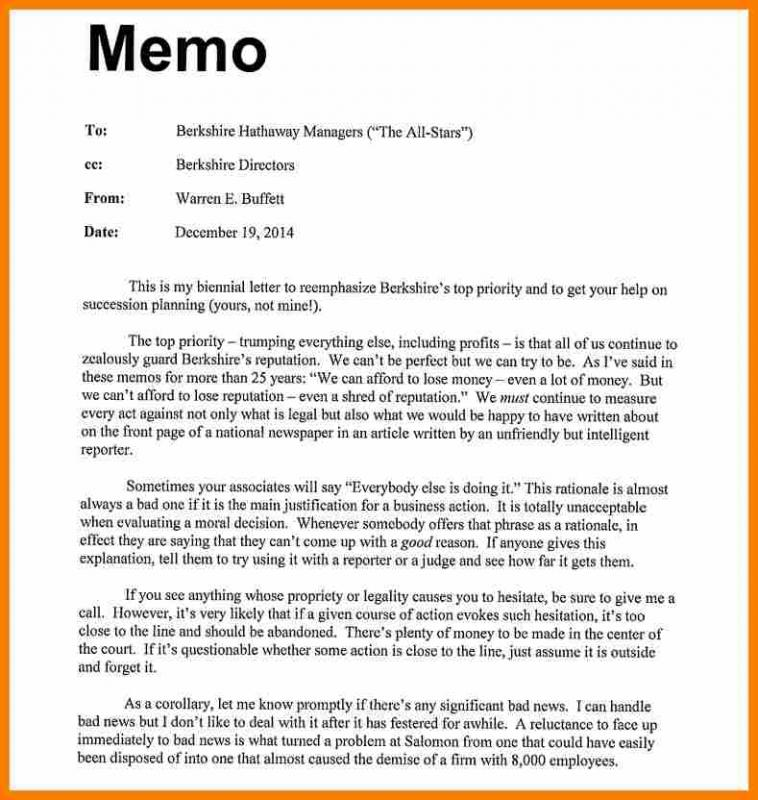 Sample Memo Format  Template Business