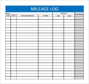 sample mileage log mileage log