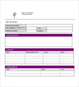 sample minute of meeting simple meeting agenda template