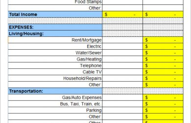 sample monthly budget personal budget worksheet
