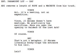 sample movie script s entourage