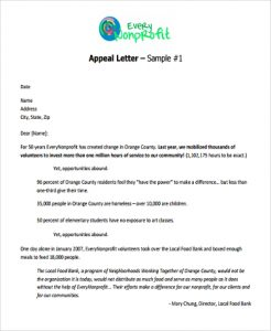 sample nonprofit gift acknowledgement letter appeal fund letter format