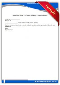 sample notary statement printable declaration under the penalty of perjury, notary statement form