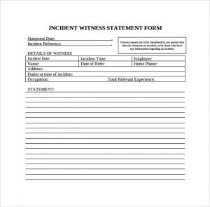 sample notary statements incident witness statement template