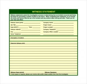 Sample Notary Statements Witness Statement Template Pdf