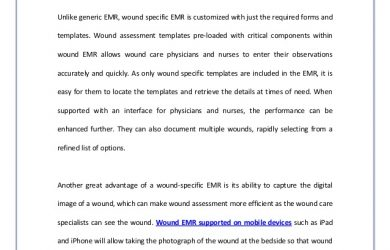 sample nurses note proper wound assessment with wound emr