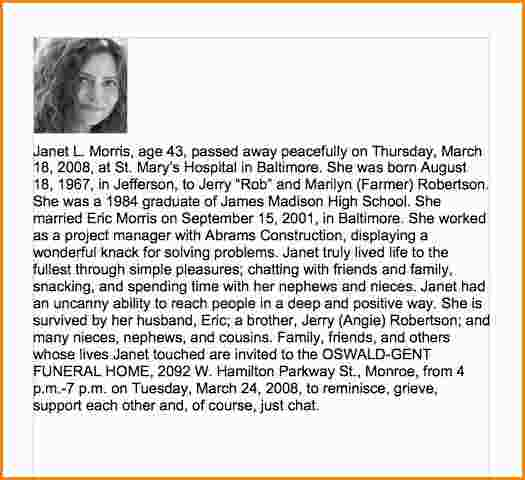 funeral biography template - sample obituary for mother template business