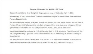 sample obituary for mother sample obituaries for mother years