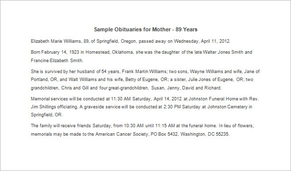 obituary template for father - sample obituary for mother template business