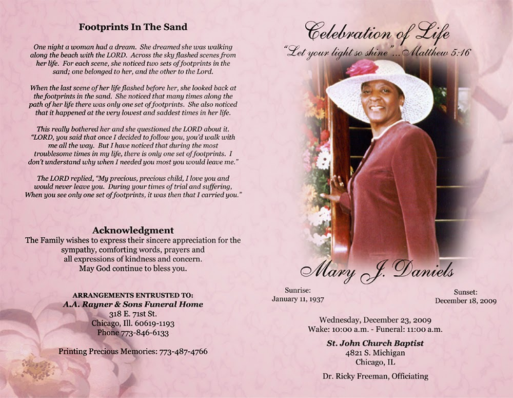 sample writing a funeral program