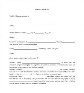 sample of bill of sale business bill of sale free download