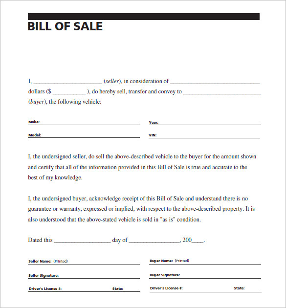 sample of bill of sale