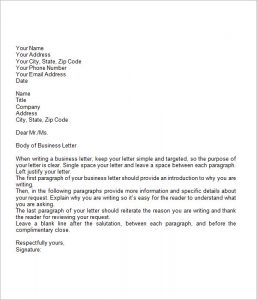 sample of buisness letter business letter example