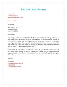 sample of buisness letter formal business letter