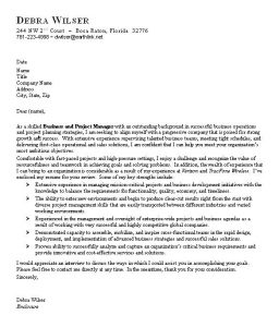 sample of buisness letter sample business cover letter