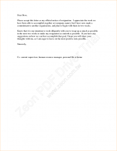 sample of business letter weeks notice letter sample