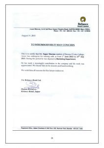 sample of business letterhead an internship project report on reliance industries limited