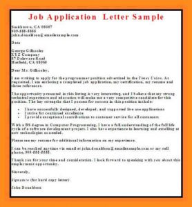 sample of business letterhead sample of an application letter for a job vacancy job application letter sample