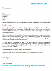 sample of bussiness letters thank you letter for business partnership with gratitude for valued association