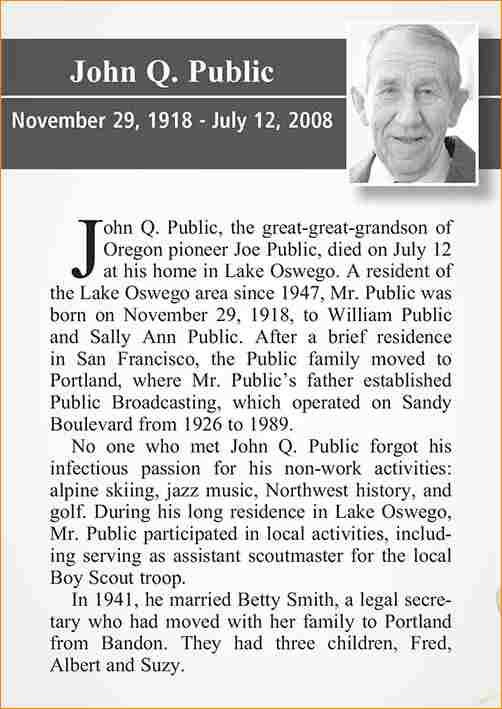 sample of obituary  template business