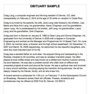 sample of obituary obituary samples word
