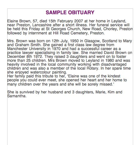 sample of obituary
